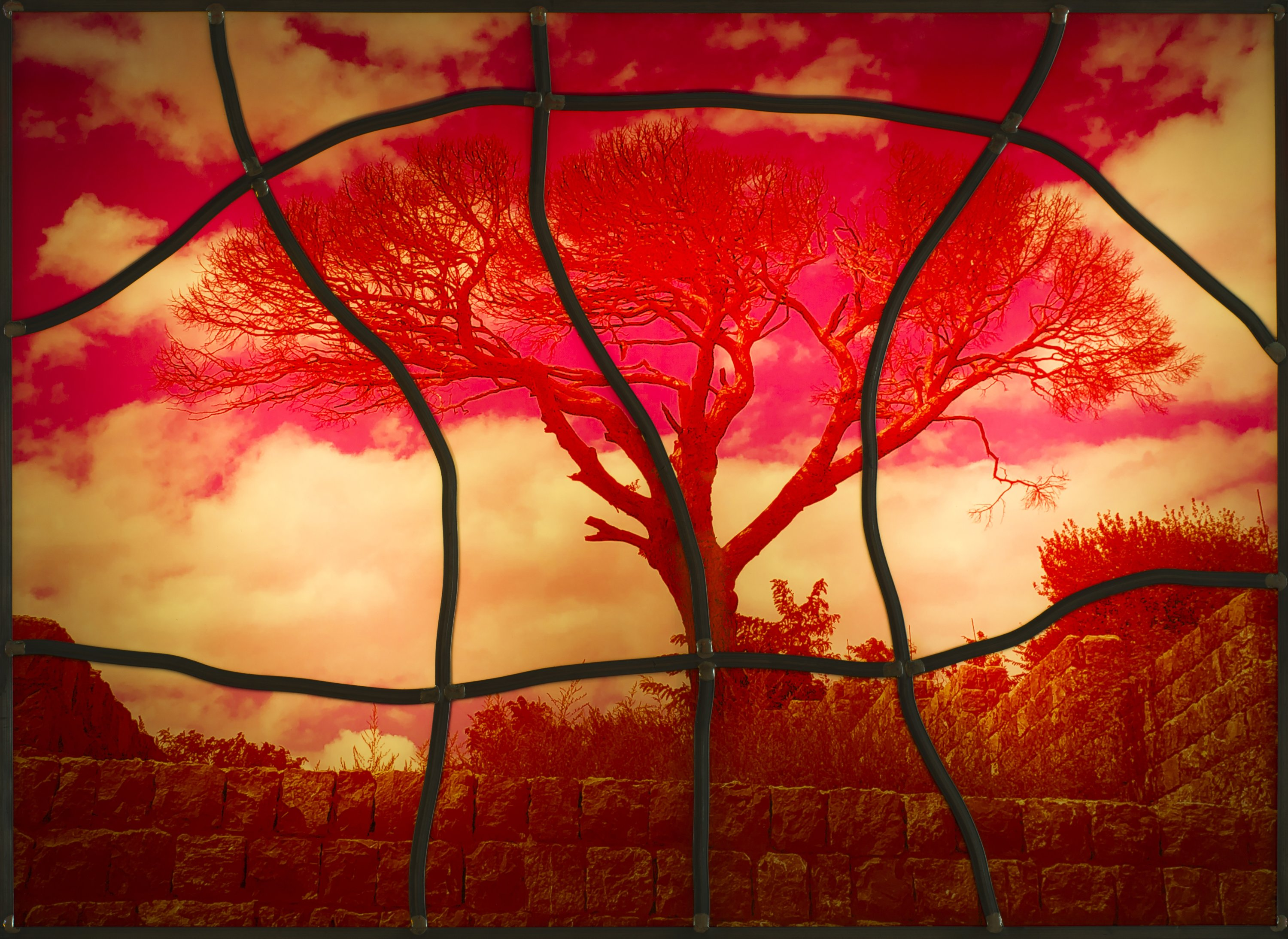 A stained glass work by Sarkis at the exhibition at Dirimart Gallery, Istanbul. (Courtesy of Dirimart)