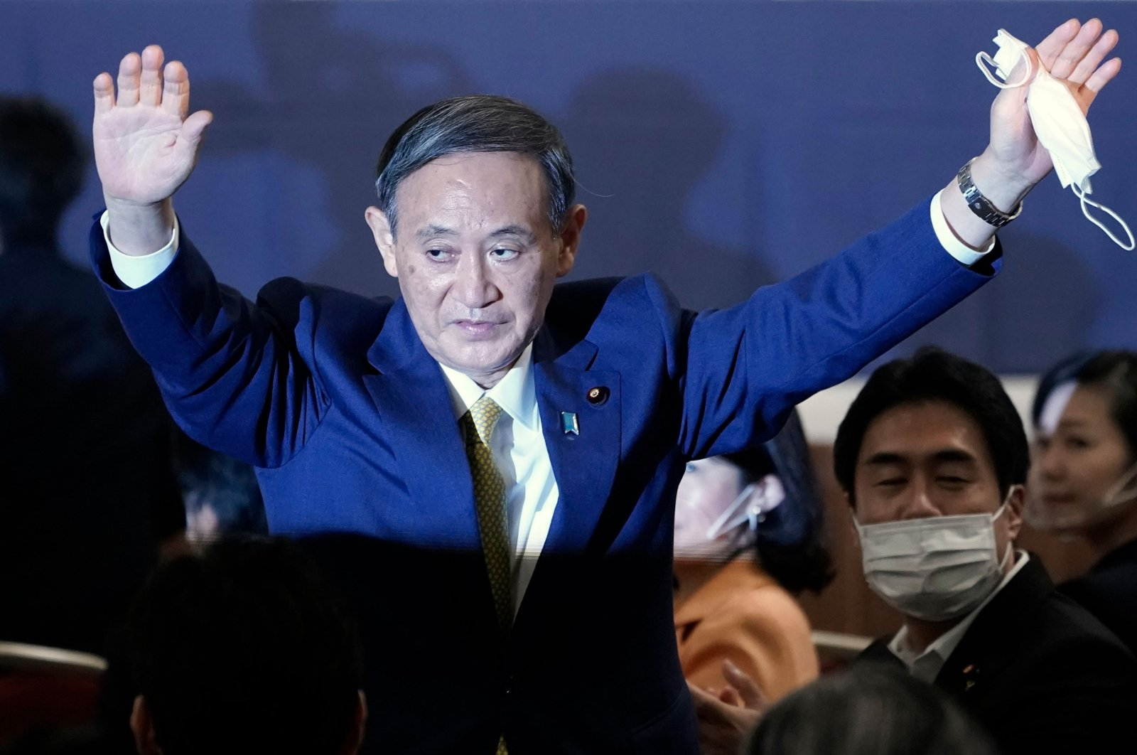Japan's Chief Cabinet Secretary Yoshihide Suga reacts after being elected as new head of Japan's ruling Liberal Democratic Party (LDP) at the party's leadership election in Tokyo on Sept. 14, 2020.(AFP Photo)