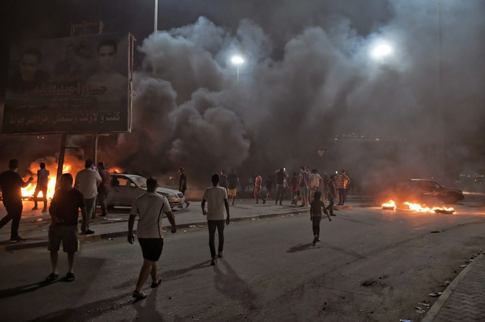 Protesters angry over the area's crippling electricity shortages set fire to tires in Benghazi, Libya, Sept. 10, 2020. (AP Photo)