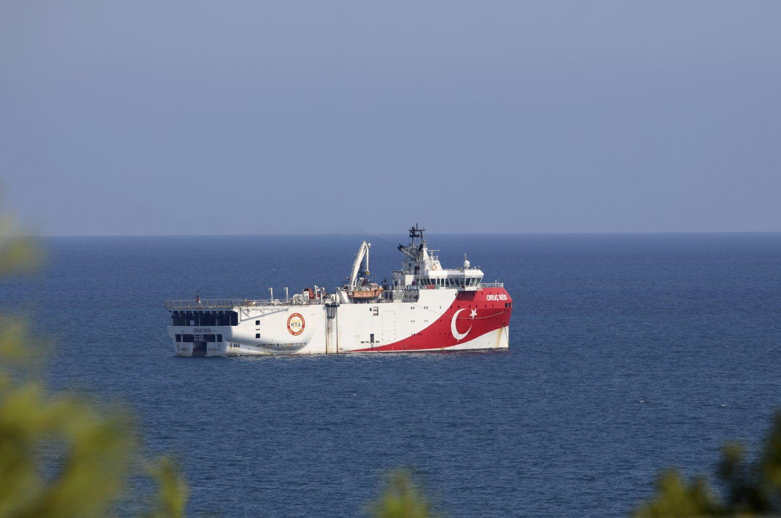 Turkey's research vessel, Oruç Reis, anchored in the Mediterranean Sea off the coast of Antalya, western Turkey, Sept. 13, 2020. (AP Photo)