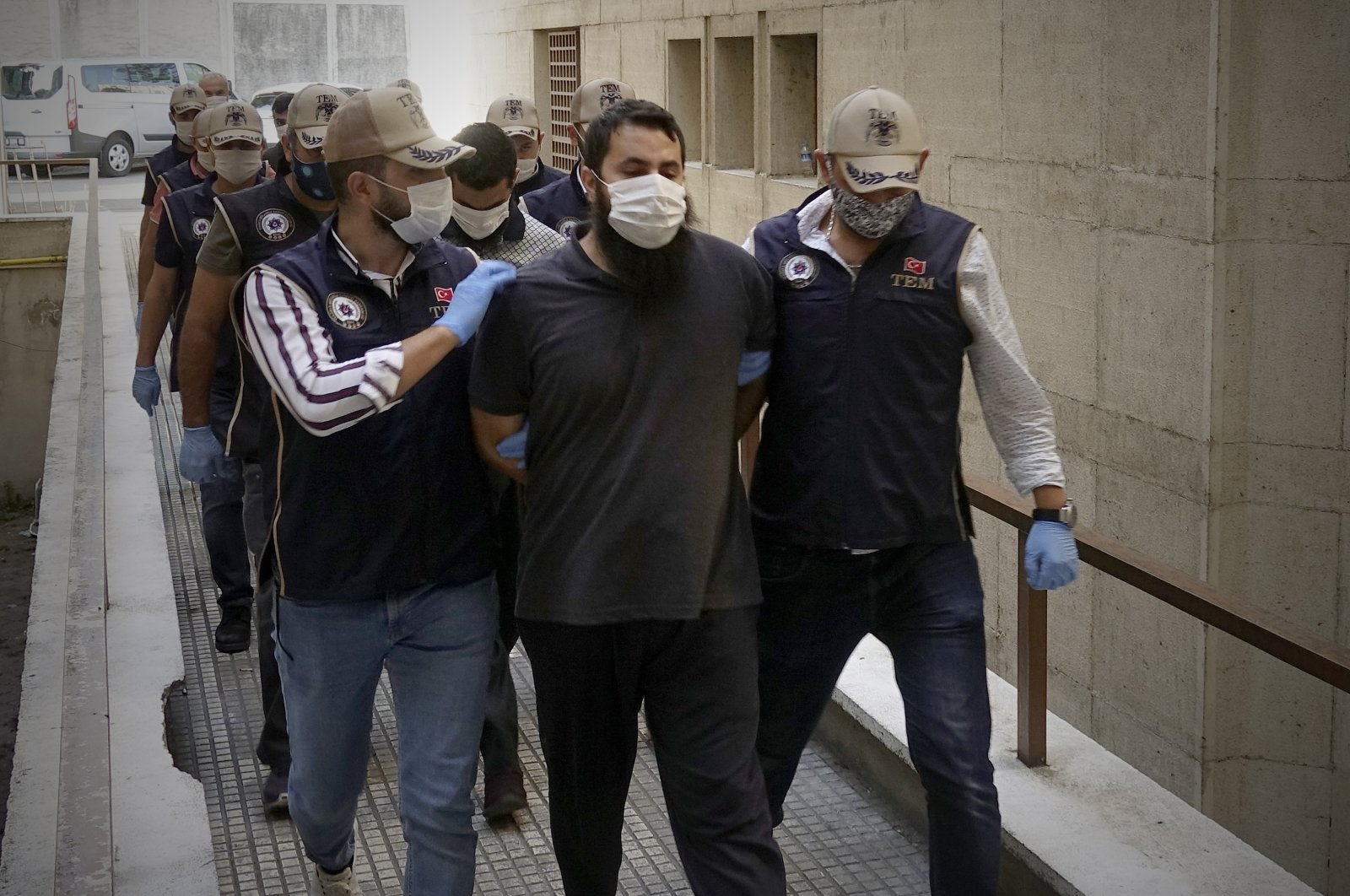 Security forces arrest five people allegedly linked to the Daesh terrorist group in northwestern Bursa and southern Mersin provinces, Sept. 14, 2020. (AA Photo)