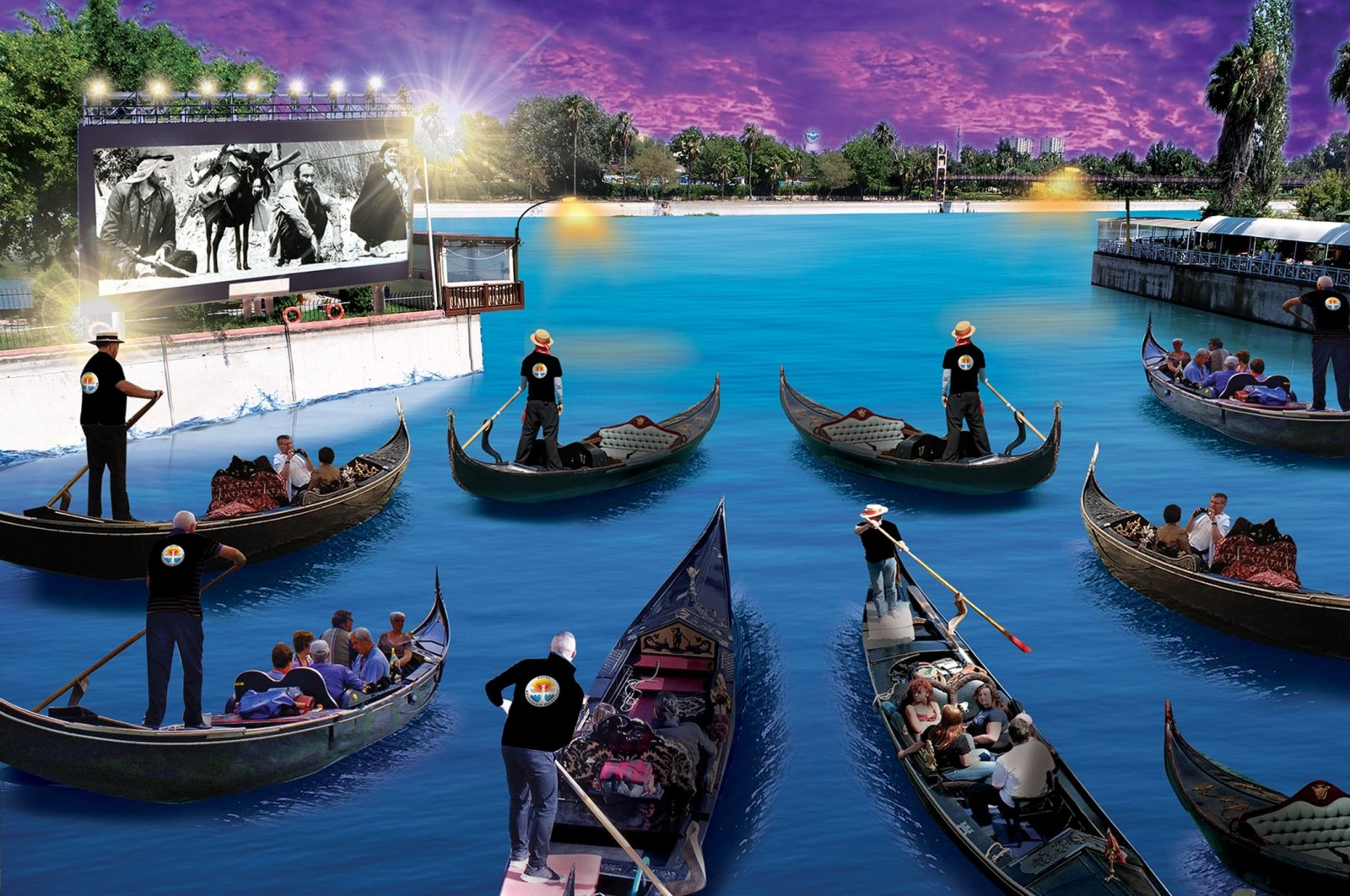 An illustration shows the gondola project being held as part of the 27th International Golden Boll Film Festival, Sept. 11, 2020. (İHA PHOTO)