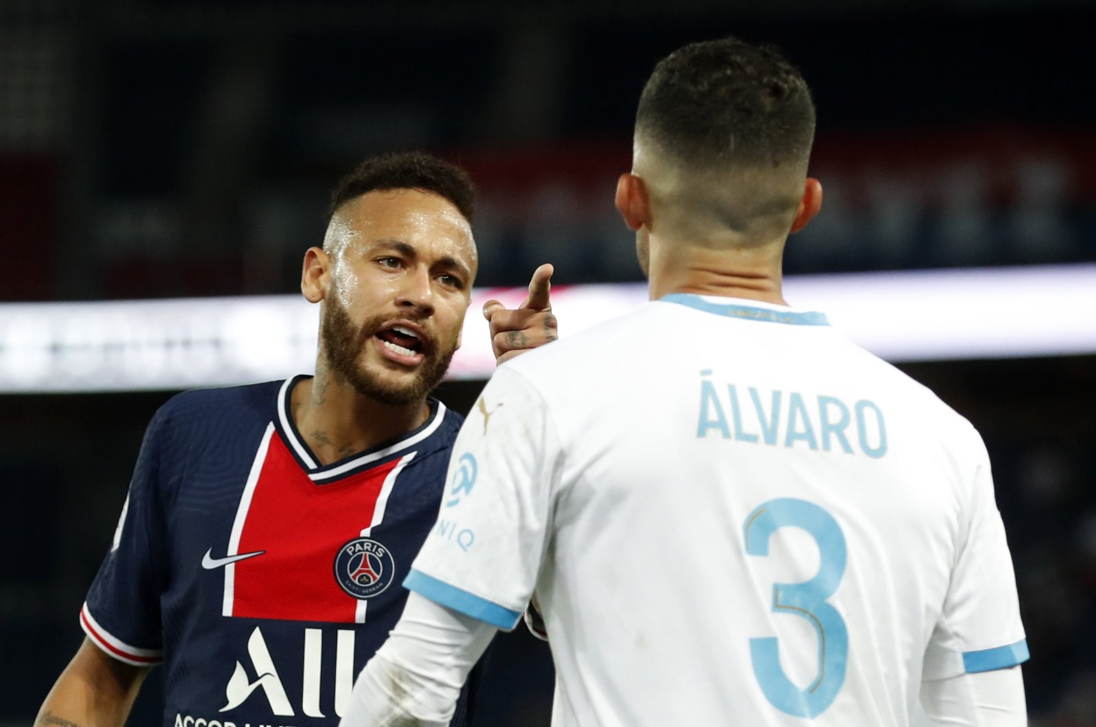 Neymar clashes with Alvaro Gonzalez, in Paris, France, Sept. 13, 2020. (REUTERS Photo)