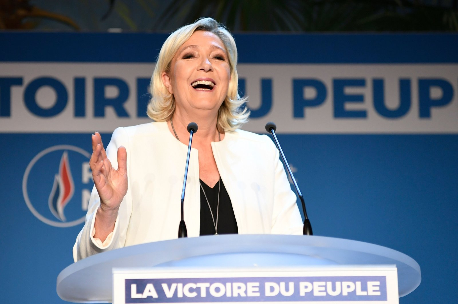 Marine Le Pen, French far-right Rassemblement National (RN) president and member of parliament, delivers a speech at La Palmeraie, in Paris, France, May 26, 2019. (AFP Photo)