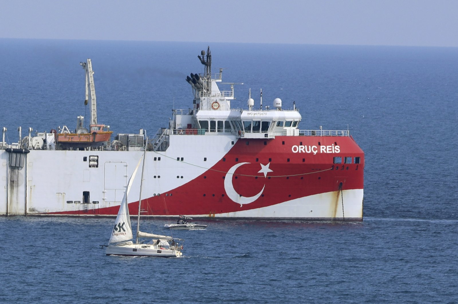Turkey's seismic vessel Oruç Reis anchors off the coast of the southern province of Antalya on the Mediterranean, Turkey, Sept. 13, 2020. (AP Photo)