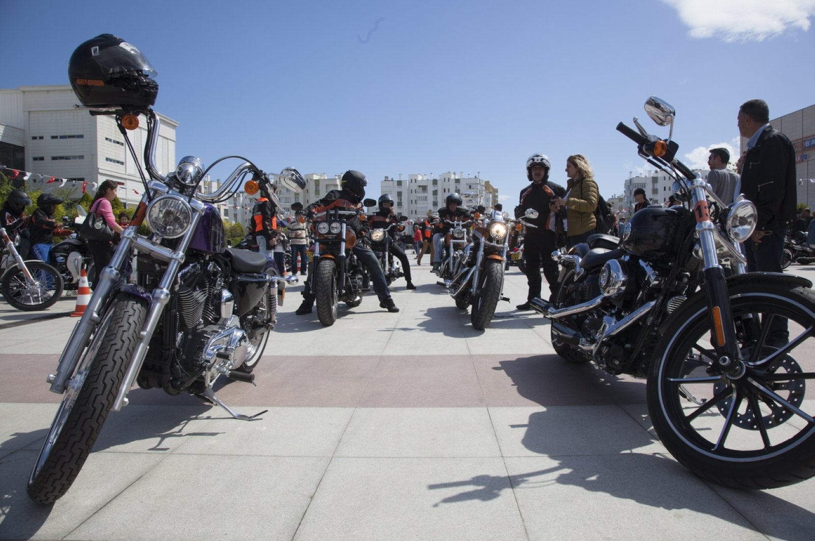 Motorcycles in aHarley Davidson convoy heading to a rally in Antalya are seen on the road, southern Antalya, Turkey, May 21, 2017. (iStock Photo by Onur Hazar Altındağ)