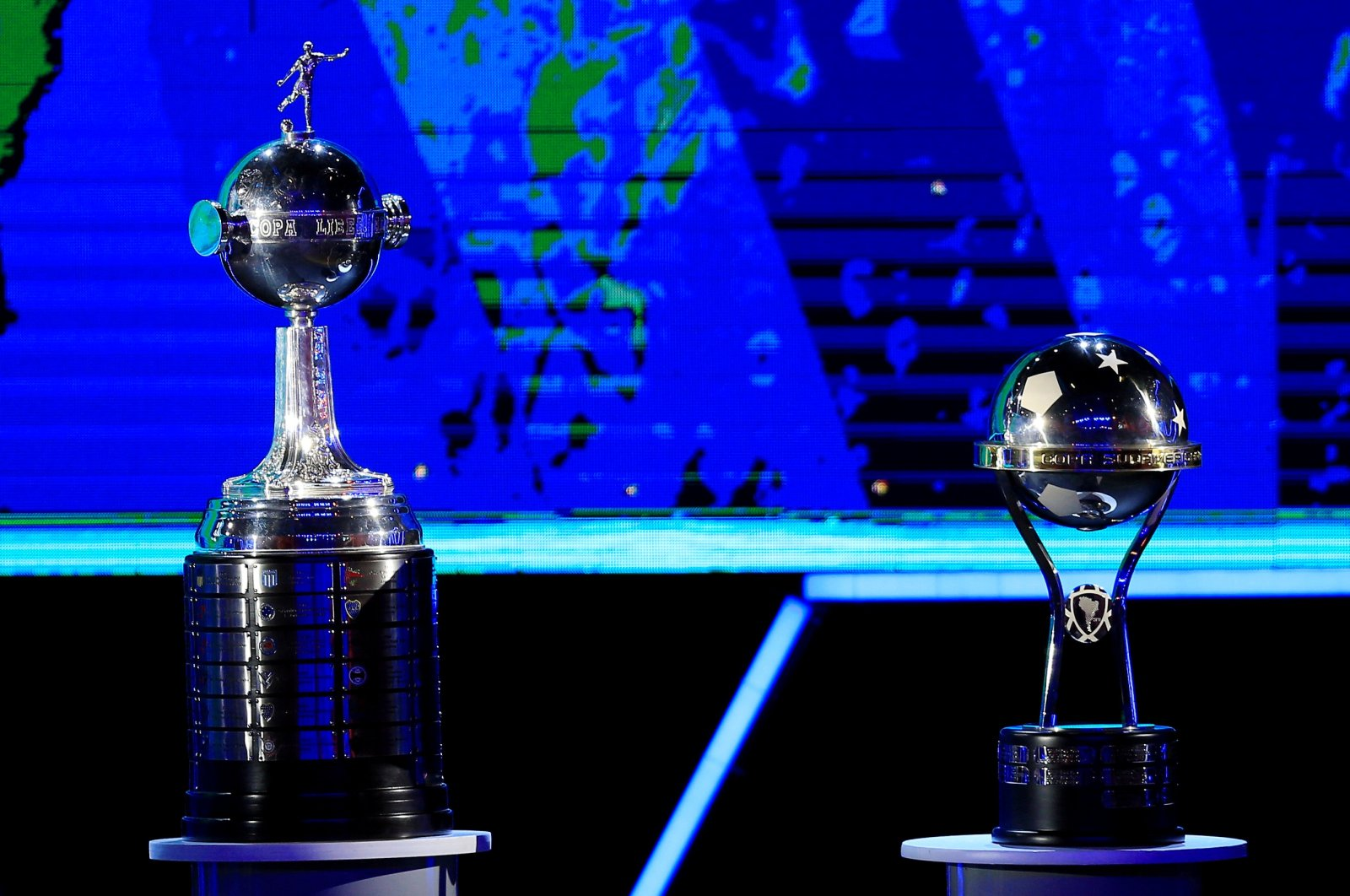 The trophies of the Copa Libertadores and the Copa Sudamericana, in Luque, Paraguay, Dec. 17, 2019. (Reuters Photo)