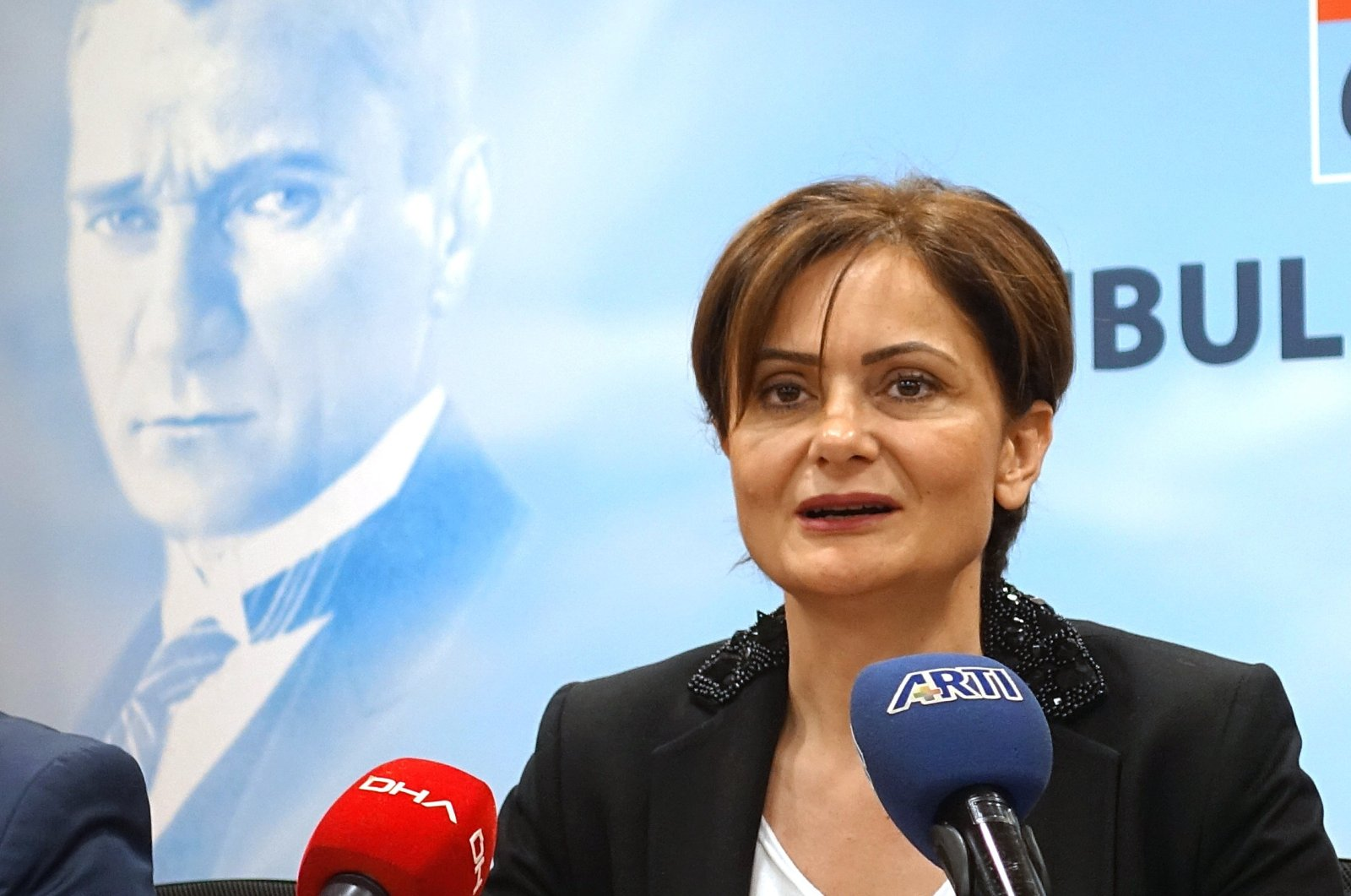 Canan Kaftancıoğlu, the main opposition Republican People's Party (CHP) Istanbul head, speaks during a press conference in Istanbul, May 22, 2019. (AA Photo)