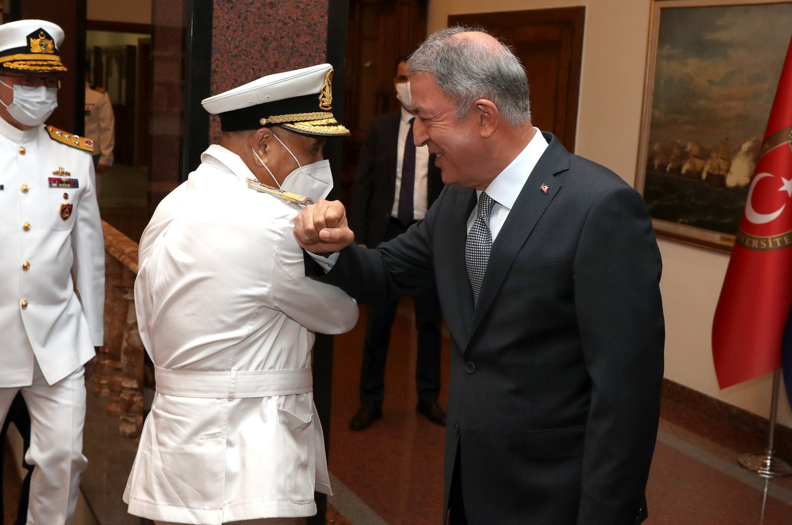 Defense Minister Hulusi Akar receives Libya's Chief of Naval Staff Abdul Hakim Abu Hawliyeh in the capital Ankara, Sept.14, 2020. (Defense Ministry Courtesy)