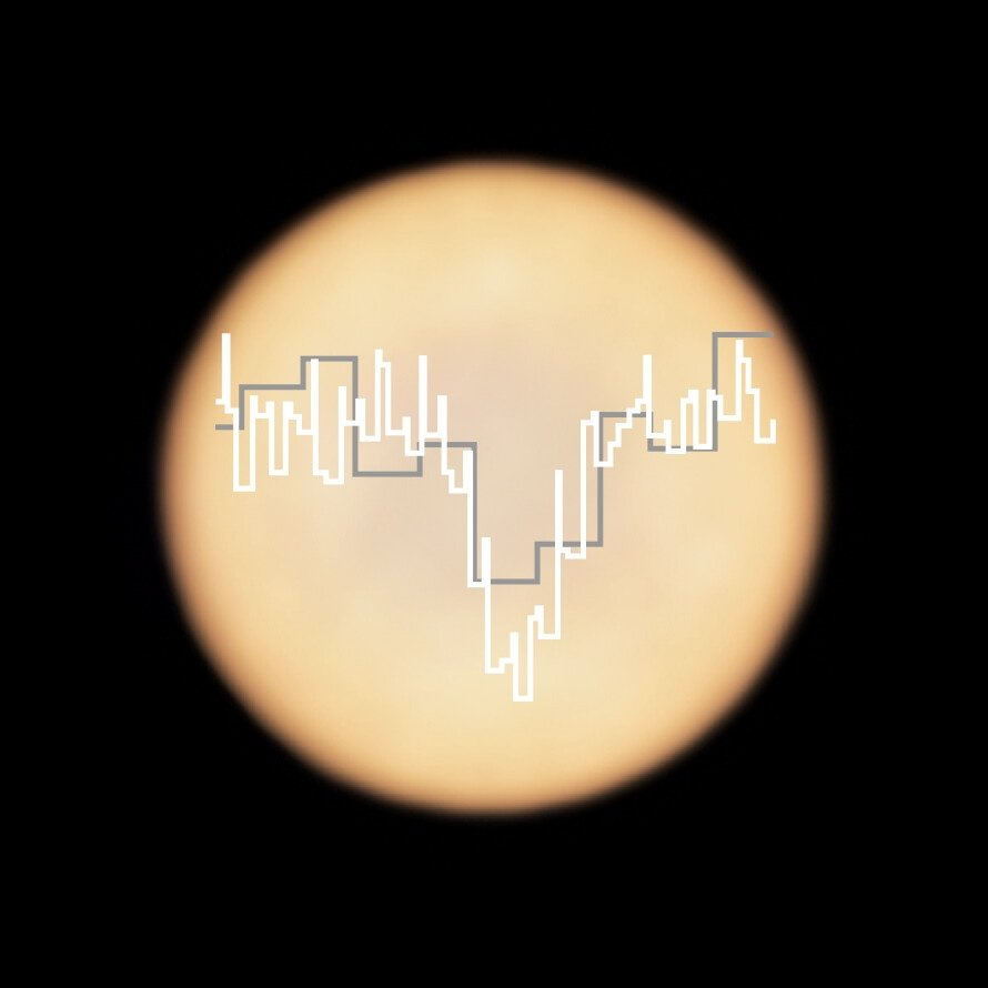 This artistic representation shows a real image of Venus, taken with ALMA, with two superimposed spectra taken with ALMA (in white) and the James Clerk Maxwell Telescope (JCMT; in grey). (EPA/ESO/NAOJ/NRAO)