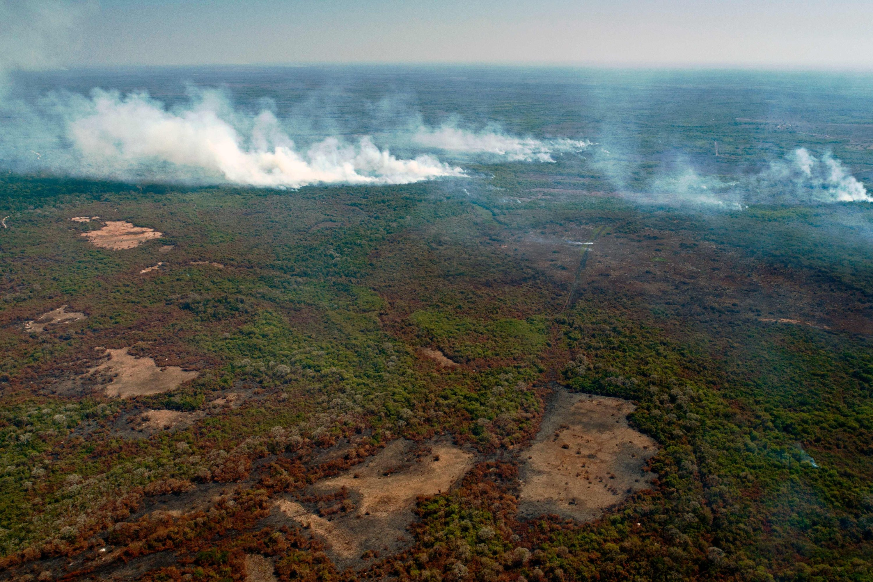 An aerial view of large-scale forest fires in Pocone, Pantanal region, the largest tropical wetlands in the world, Mato Grosso state, Brazil, Aug. 1, 2020. (AFP Photo)