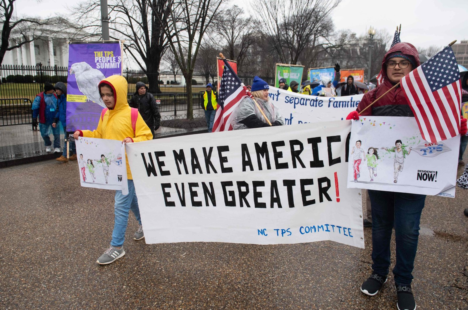 Demonstrators participate in the March For TPS (Temporary Protected Status) Justice as they rally in support of Deferred Action for Childhood Arrivals (DACA) recipients and TPS holders during a protest for permanent residency outside the White House in Washington, D.C., U.S., Feb. 12, 2019. (AFP Photo)