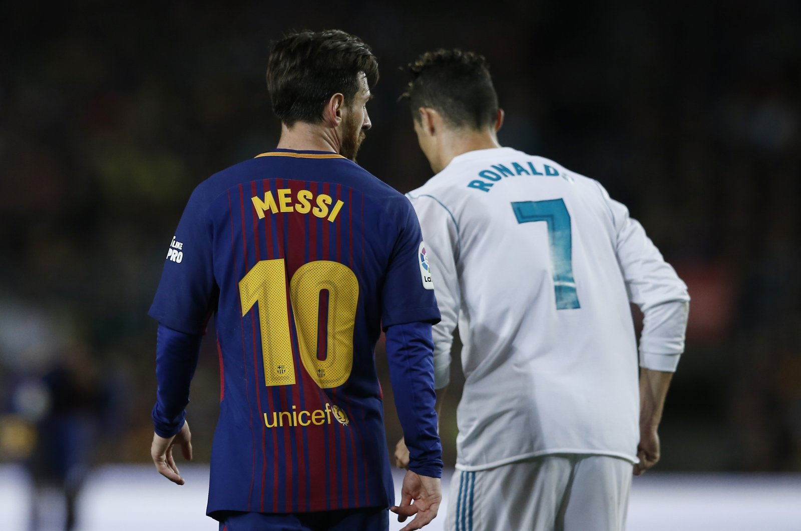 Lionel Messi and Cristiano Ronaldo during a La Liga match between Barcelona and Real Madrid, in Barcelona, Spain, May 6, 2018. (AP Photo)