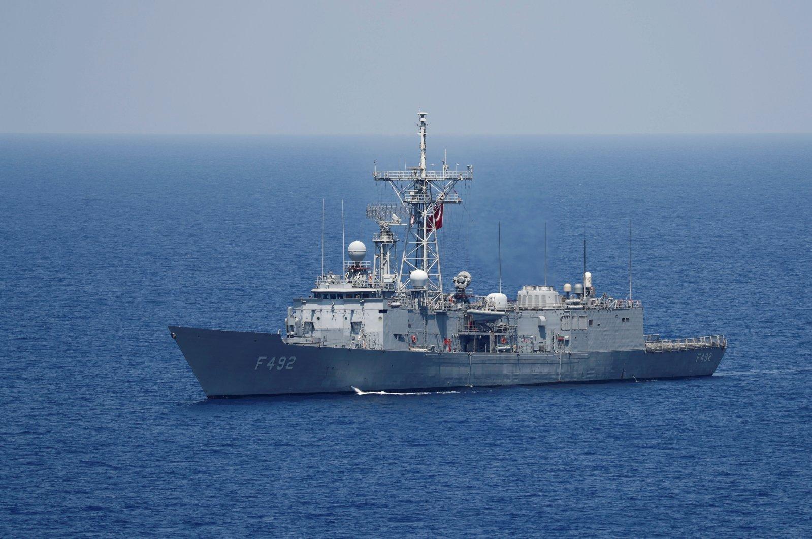 Turkish navy frigate TCG Gemlik (F-492) escorts Turkish drilling vessel Yavuz in the Eastern Mediterranean Sea off Cyprus, Aug. 6, 2019. (Reuters Photo)