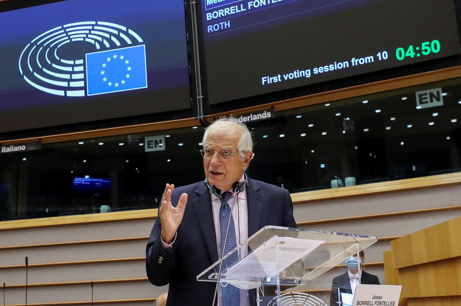 Josep Borrell, high representative of the European Union for Foreign Affairs and Security Policy, speaks at the European Parliament, in Brussels, Belgium on Sept. 15, 2020. (Reuters Photo)