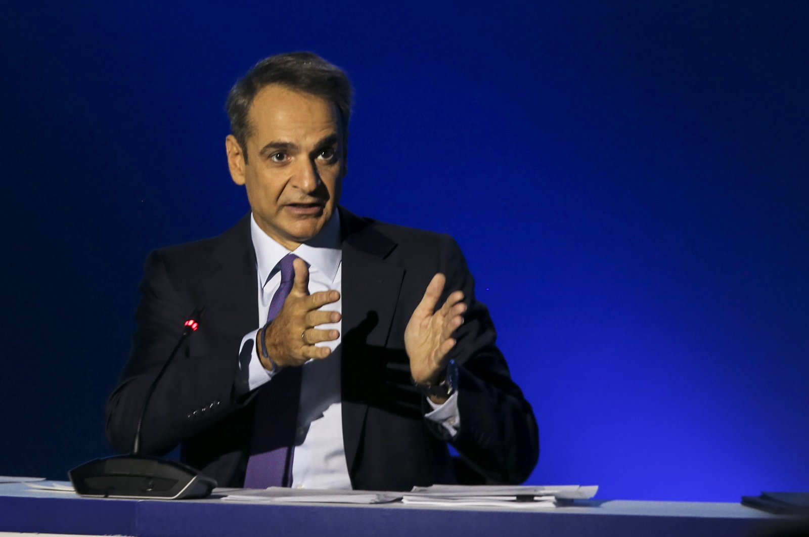 Greek Prime Minister Kyriakos Mitsotakis addresses journalists during a news conference in the northern city of Thessaloniki, Greece, Sept. 13, 2020. (AP Photo)