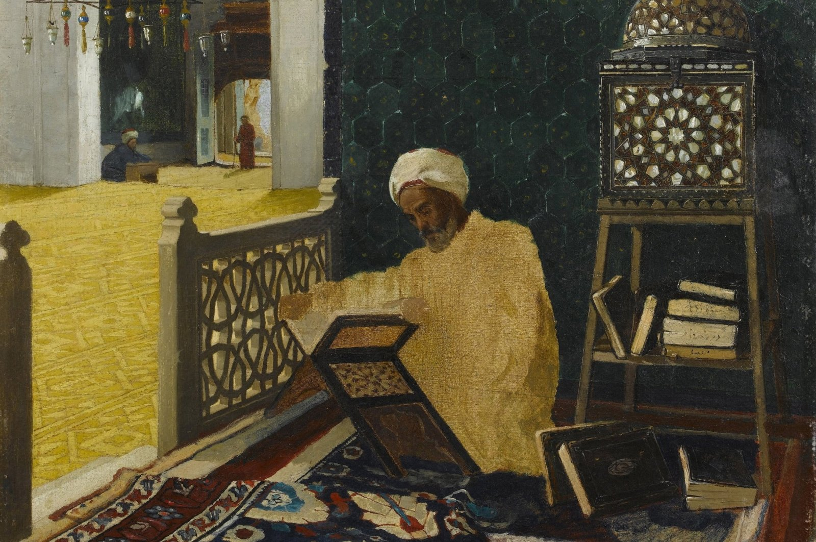 """Turkish painter Osman Hamdi Bey's """"Reciting the Quran"""" painting from the collection of Sakıp Sabancı Museum, Istanbul. (Photo by Fine Art Images/Heritage Images/Getty Images)"""