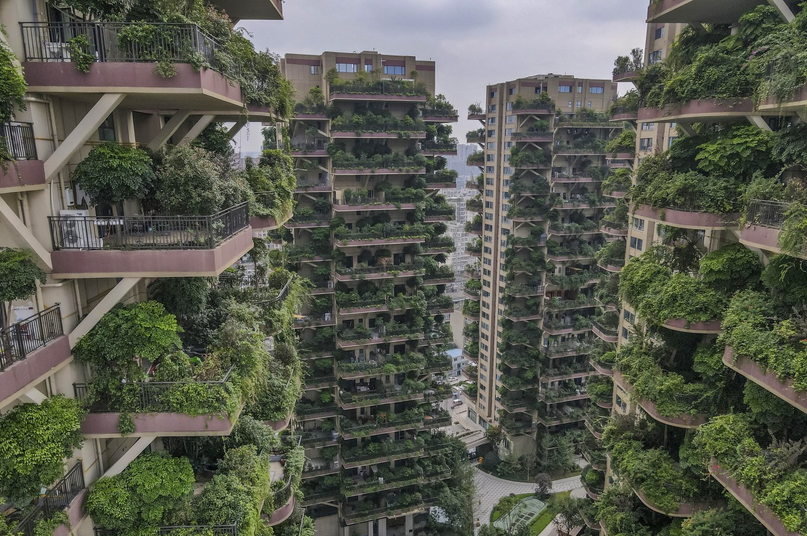 A photo taken with a drone shows an aerial view of the Qiyi City Forest Garden residential buildings complex in Chengdu, China, Sept. 15, 2020. (EPA Photo)