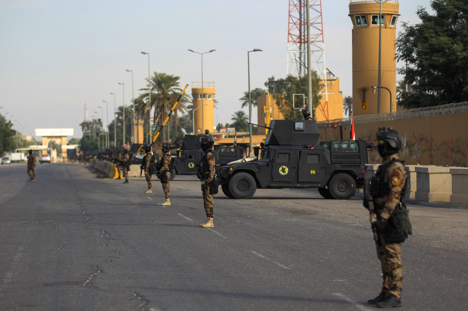 Iraqi counterterrorism forces stand guard in front of the U.S. Embassy in Baghdad, Jan. 2, 2020. (AFP Photo)