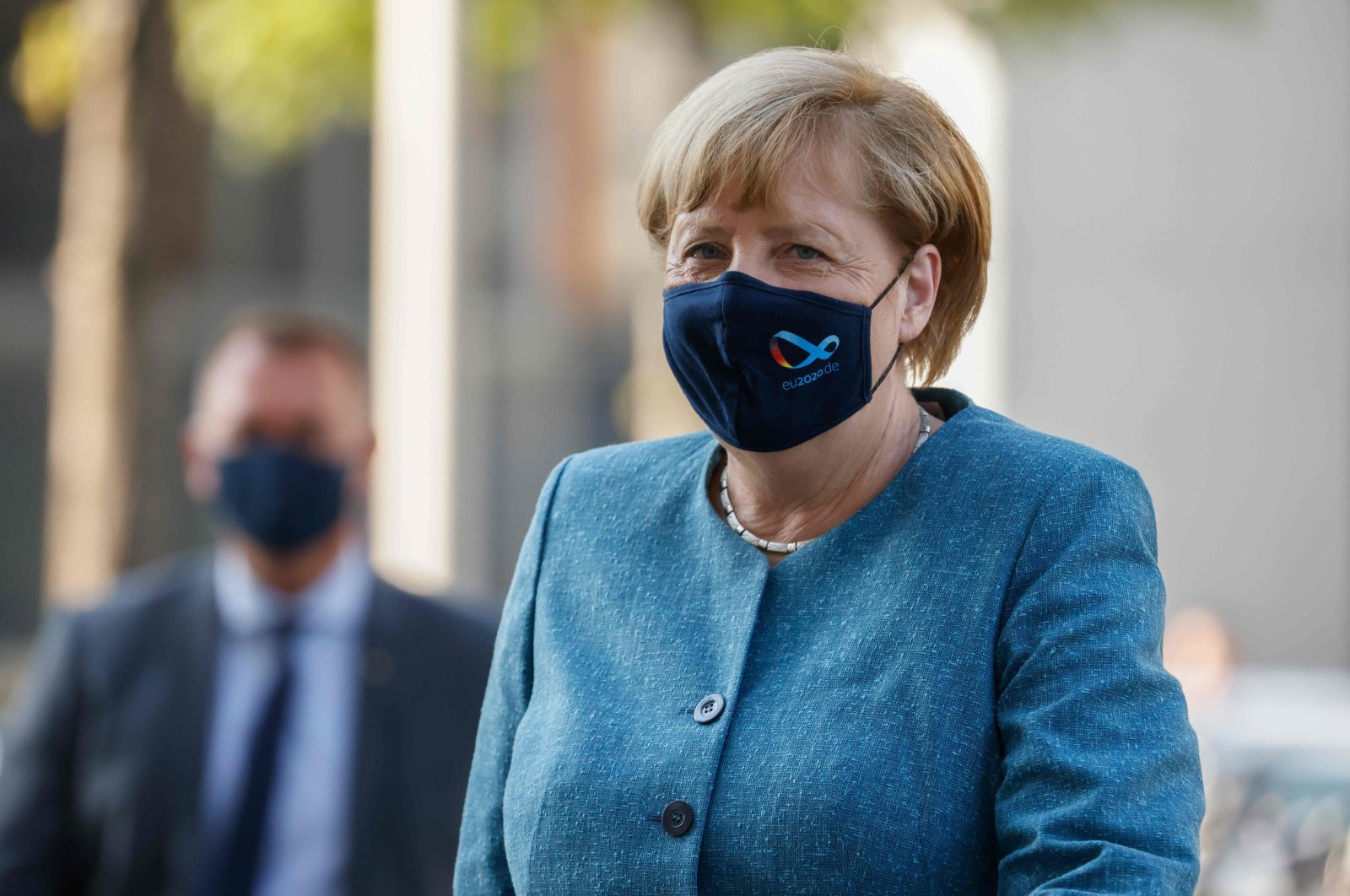 German Chancellor Angela Merkel arrives for a a meeting of the CDU/CSU parliamentary group at the Bundestag in Berlin on September 15, 2020. (AFP Photo)
