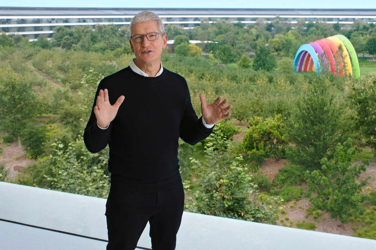 Apple CEO Tim Cook speaks during a special event at the company's headquarters in Cupertino, Calif., in a still image from video released on Sept. 15, 2020. (Reuters Photo)