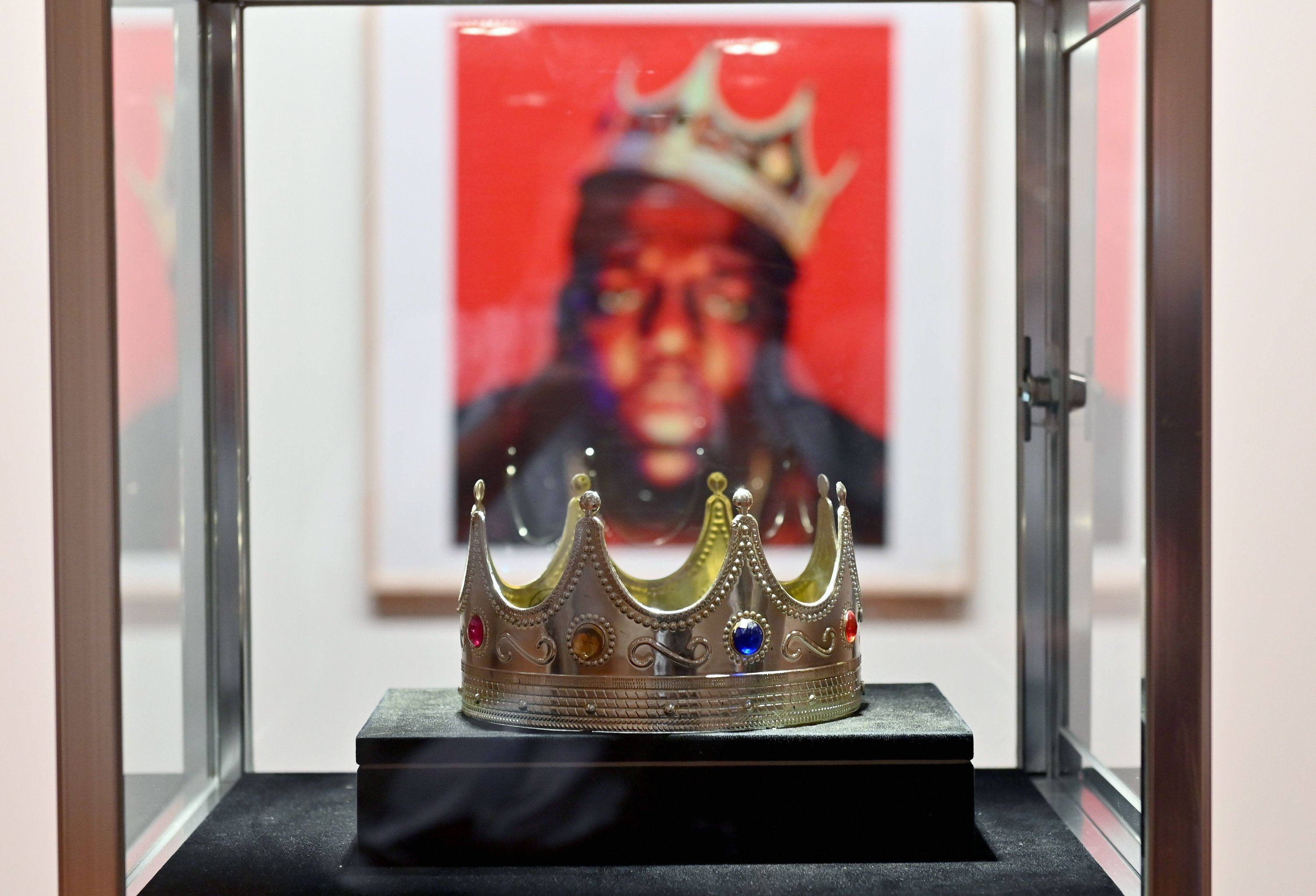 A close up of the crown worn by Notorious B.I.G., displayed during a press preview at Sotheby's for their inaugural HIP HOP Auction on Sept. 10, 2020 in New York City. (AFP PHOTO)