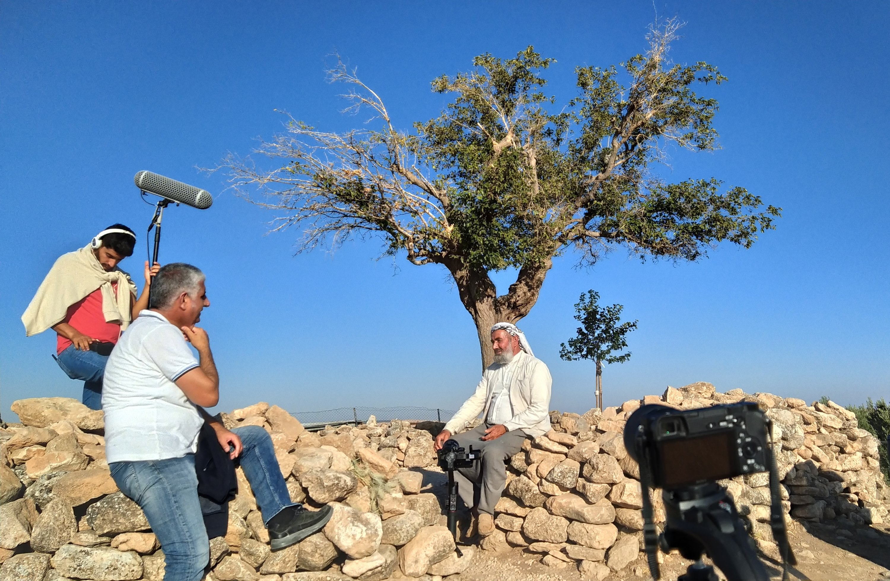 A photo from the filming of the documentary