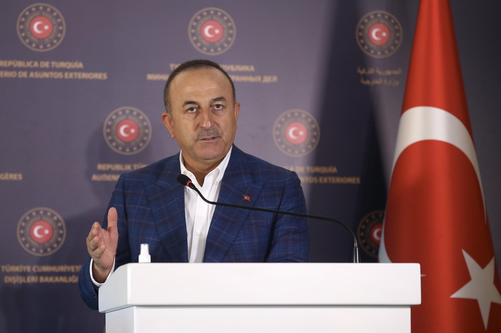 Foreign Minister Mevlüt Çavuşoğlu speaks at a joint press conference with his Maltese counterpart Evarist Bartolo in Antalya province, Turkey, Sept. 12, 2020. (AA Photo)