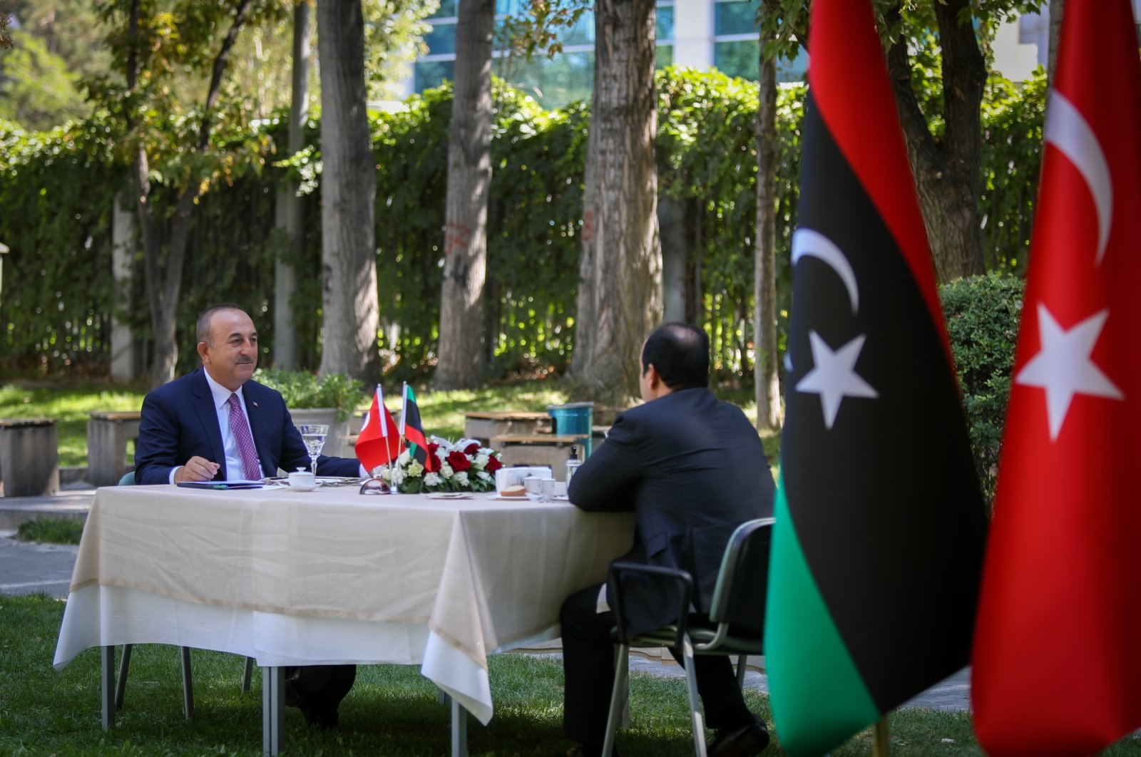 Turkey's Foreign Minister Mevlüt Çavuşoğlu meets with Ahmed Maiteeq, the vice president of the Presidential Council of Libya's Government of National Accord (GNA), in the capital Ankara, Turkey, Sept. 15, 2020 (AA Photo)
