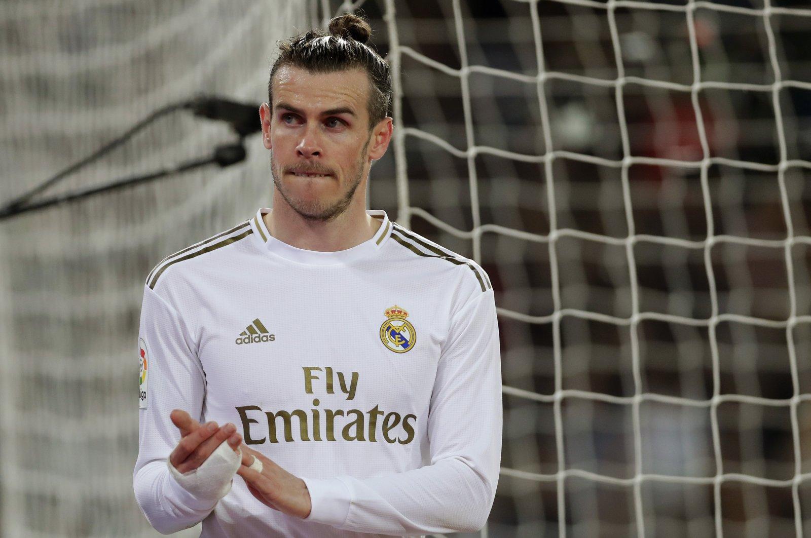 Real Madrid's Gareth Bale reacts during a La Liga match against Celta de Vigo, in Madrid, Spain, Feb. 16, 2020. (AP Photo)