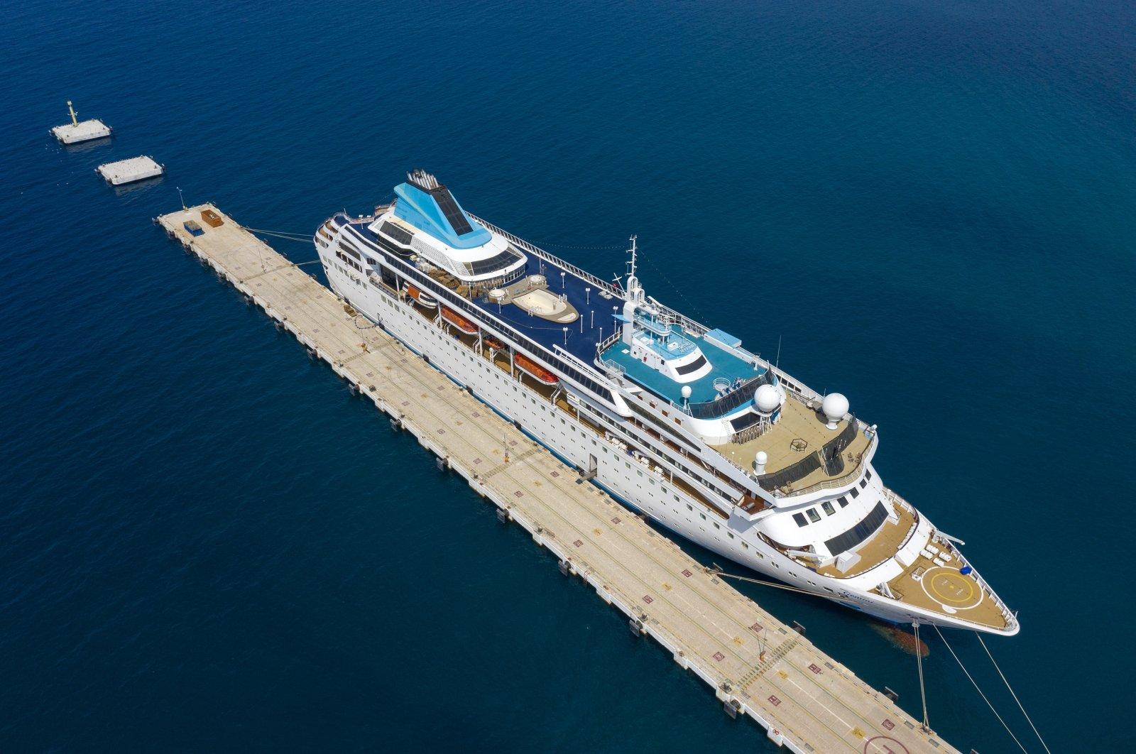 "The cruise ship ""Gemini"" anchored at Kuşadası Port, in western Aydın, Turkey, Sept. 16, 2020. (AA Photo)"