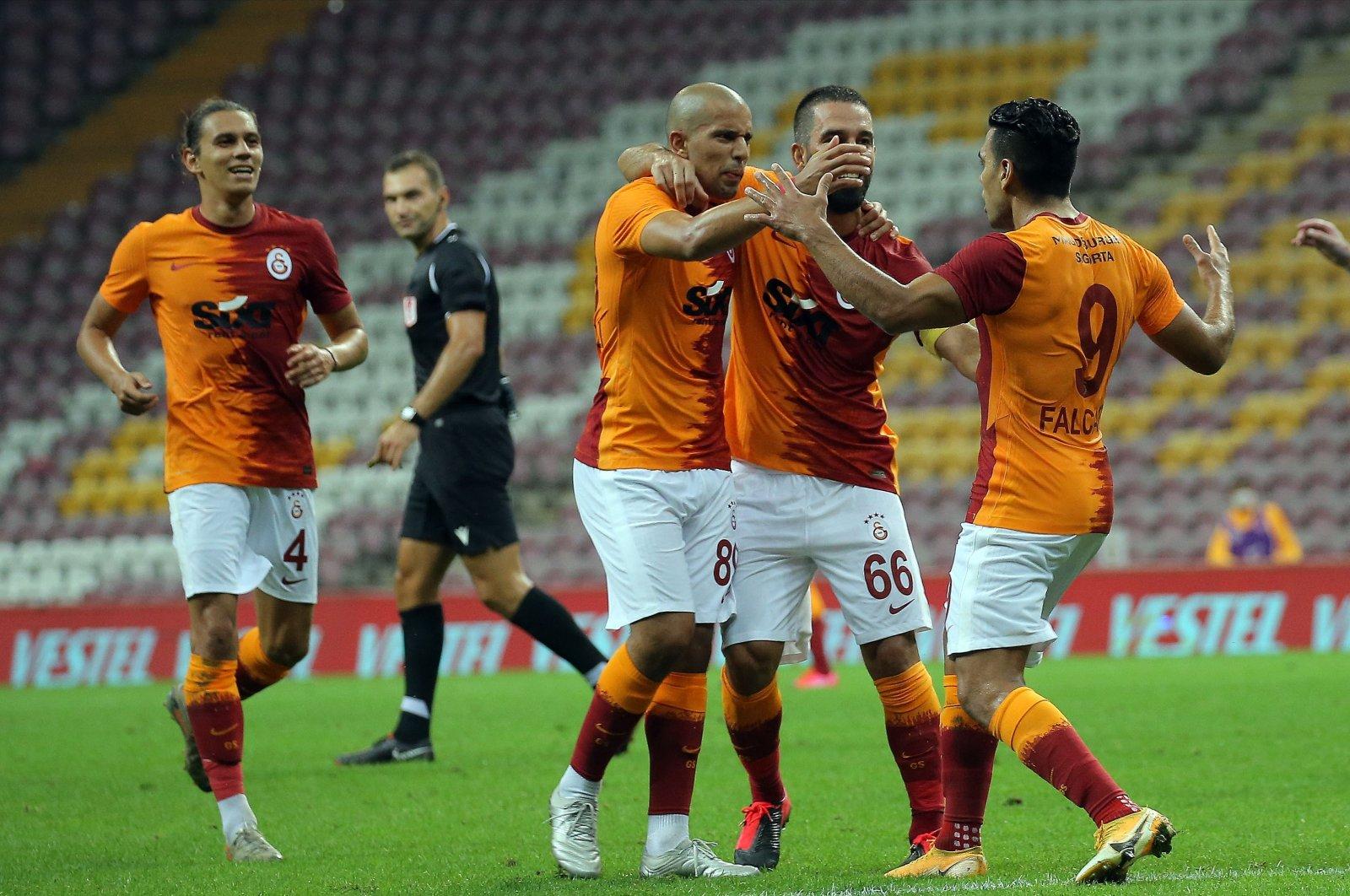 Galatasaray players celebrate a goal during a Süper Lig match against Gaziantep, in Istanbul, Turkey, Sept. 12, 2020. (IHA Photo)