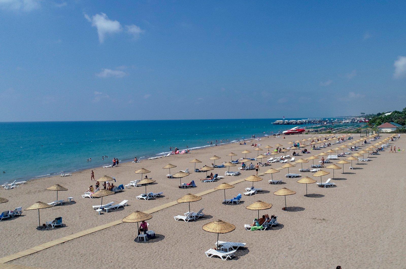 A beach in southern Antalya's Belek on Turkey's Mediterranean coast, Aug. 20, 2020 (AA Photo)