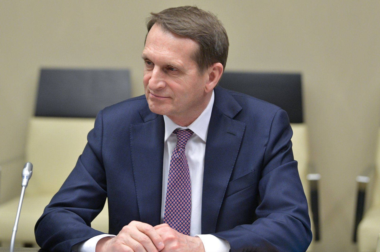 Sergei Naryshkin, head of the Russian Foreign Intelligence Service, attends a meeting with Russian President Vladimir Putin at the Novo-Ogaryovo residence outside Moscow, Russia, Feb. 21, 2020. (AP Photo)