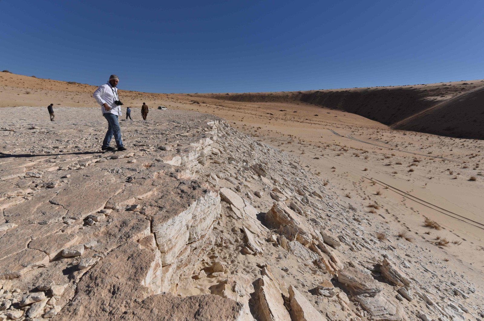 This undated handout photo obtained September 16, 2020 shows a view of the edge of the Alathar ancient lake deposit and surrounding landscape. (AFP Photo)