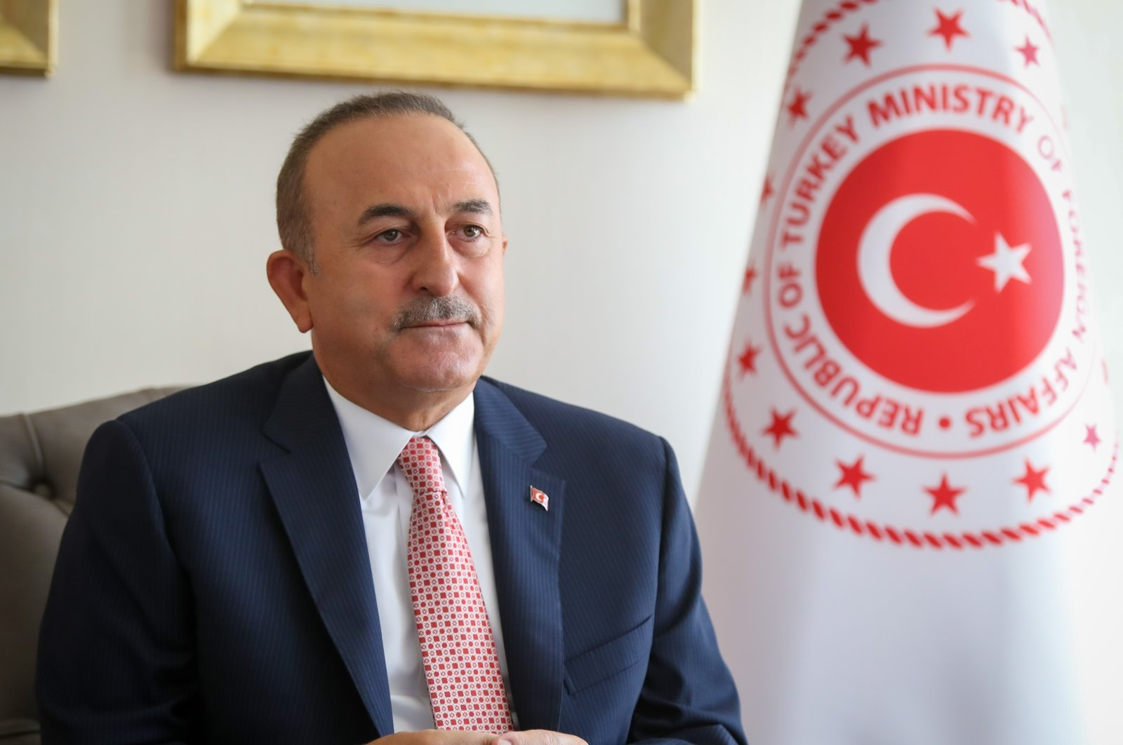 Turkish Foreign Minister Mevlut Çavuşoğlu attends the Asia Anew Panel of World Knowledge Forum which was held via videoconference in Ankara, Turkey, Sept. 16, 2020. (AA Photo)