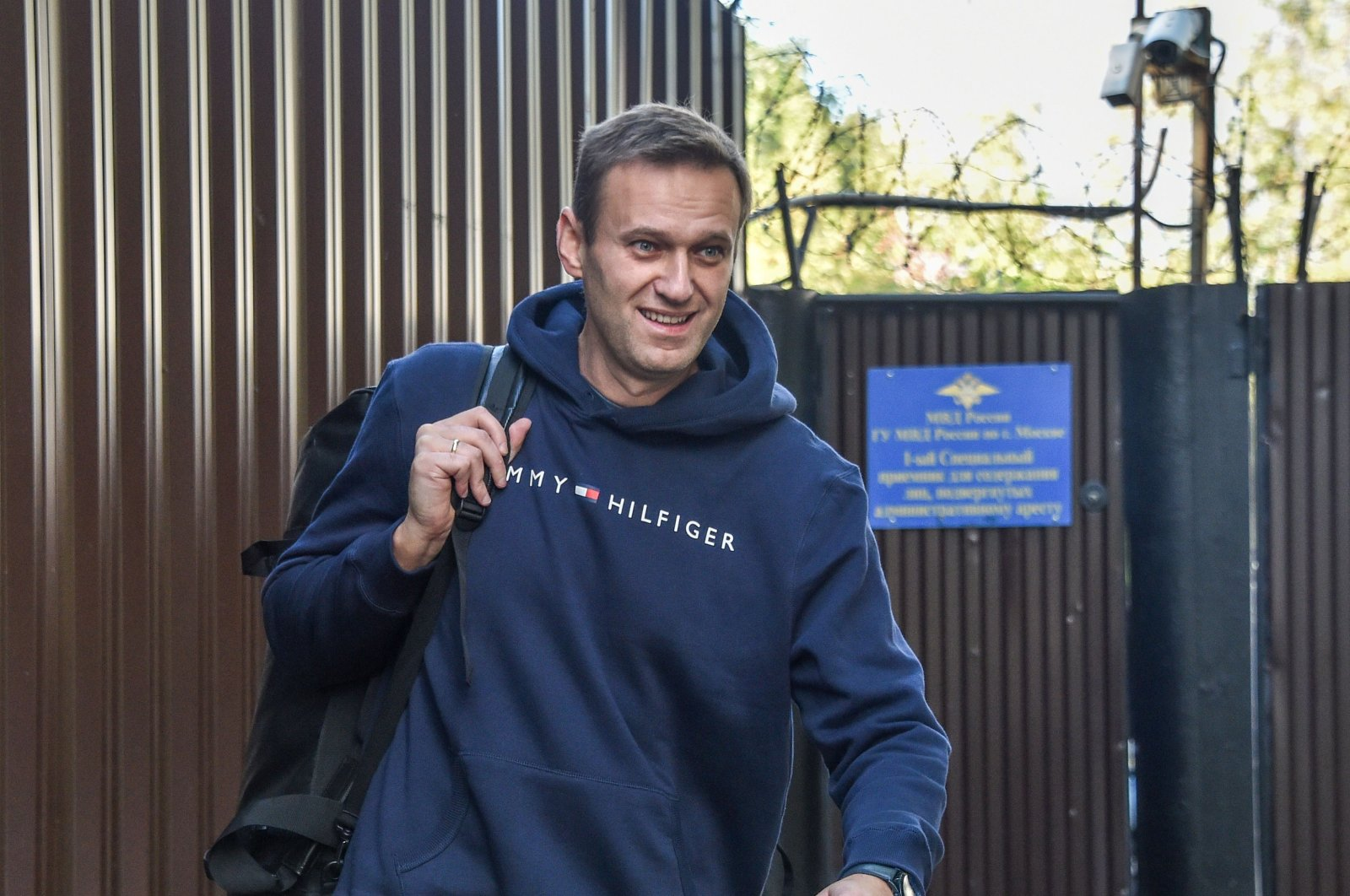 This file photo shows Russian opposition leader Alexei Navalny leaving the detention center in Moscow after serving 30 days in jail, Aug. 23, 2019. (AFP Photo)