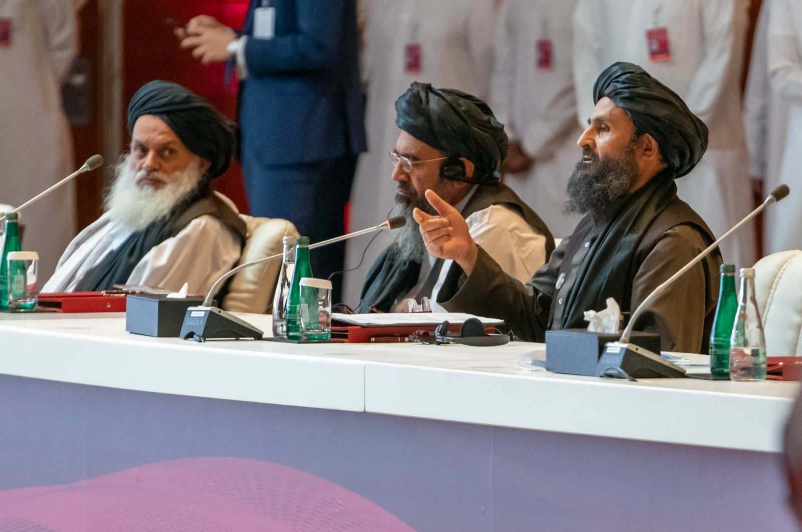 Taliban co-founder Abdul Ghani Baradar speaks during the Afghan peace negotiations, Doha, Qatar, Sept. 12, 2020. (AA Photo)