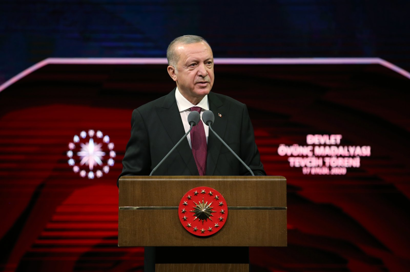 President Recep Tayyip Erdoğan speaks at the State Medal of Commendation Ceremony at Beştepe National Congress and Culture Center in the capital Ankara on Sept. 17, 2020. (AA Photo)