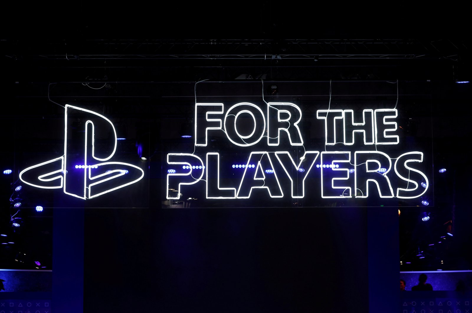The Sony Playstation logo is seen at the Paris Games Week (PGW), a trade fair for video games in Paris, France, Oct. 25, 2018. (Reuters Photo)