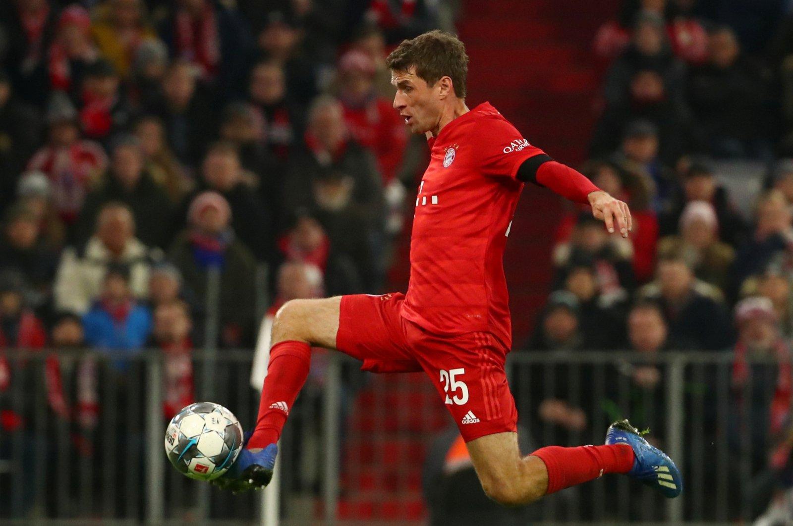 Bayern Munich's Thomas Muller scores a goal during a Bundesliga match against Schalke, in Munich, Germany, Jan. 25, 2020. (Reuters Photo)