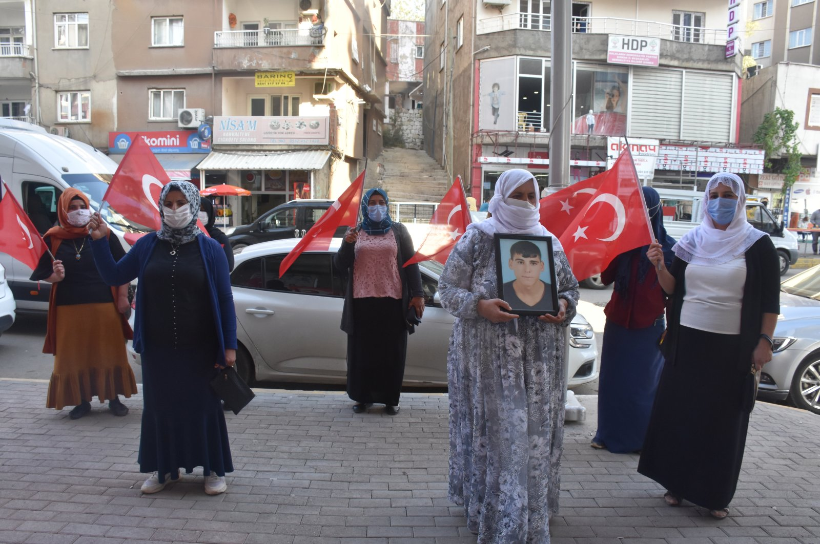 Kurdish mothers protest the PKK terror group in front of the Peoples' Democratic Party (HDP) office in southeastern Şırnak province, Turkey, Sept. 17, 2020. (AA Photo)