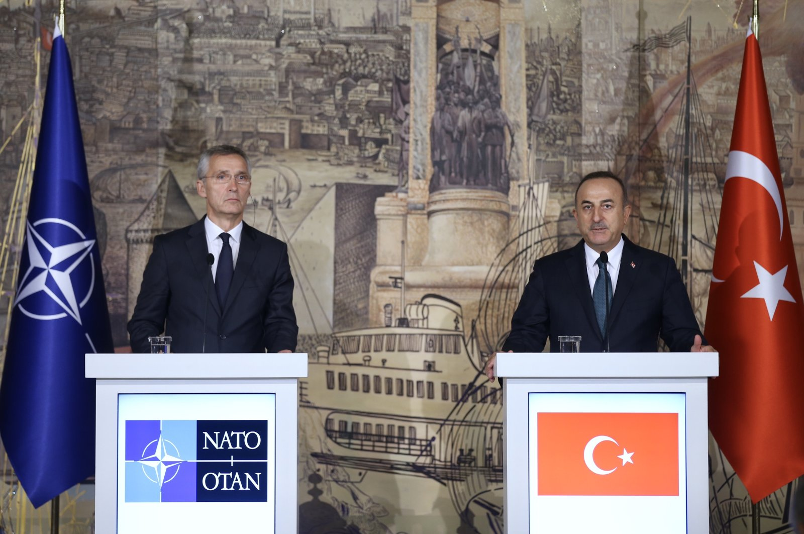 Foreign Minister Mevlüt Çavuşoğlu and NATO Secretary-general Jens Stoltenberg speak during a joint press conference in Istanbul, Oct.14, 2019. (AA)