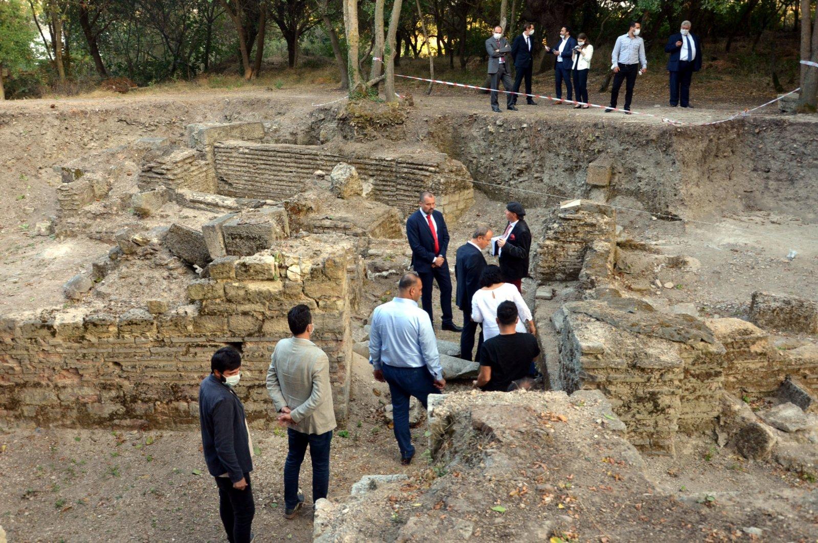 Polish Ambassador Jakub Kumoch examines the Bathonea Ancient Settlement in Istanbul's Avcılar district, Turkey, Sept. 18, 2020. (DHA Photo)