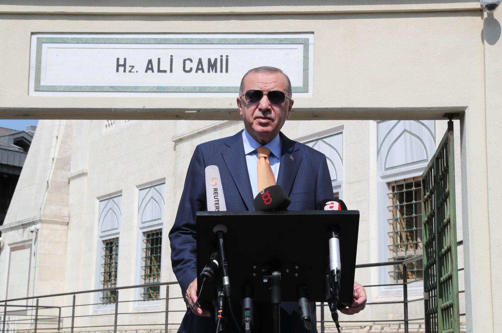 President Recep Tayyip Erdoğan addresses reporters following Friday prayers in Istanbul, Turkey, Sept. 18, 2020. (AA Photo)