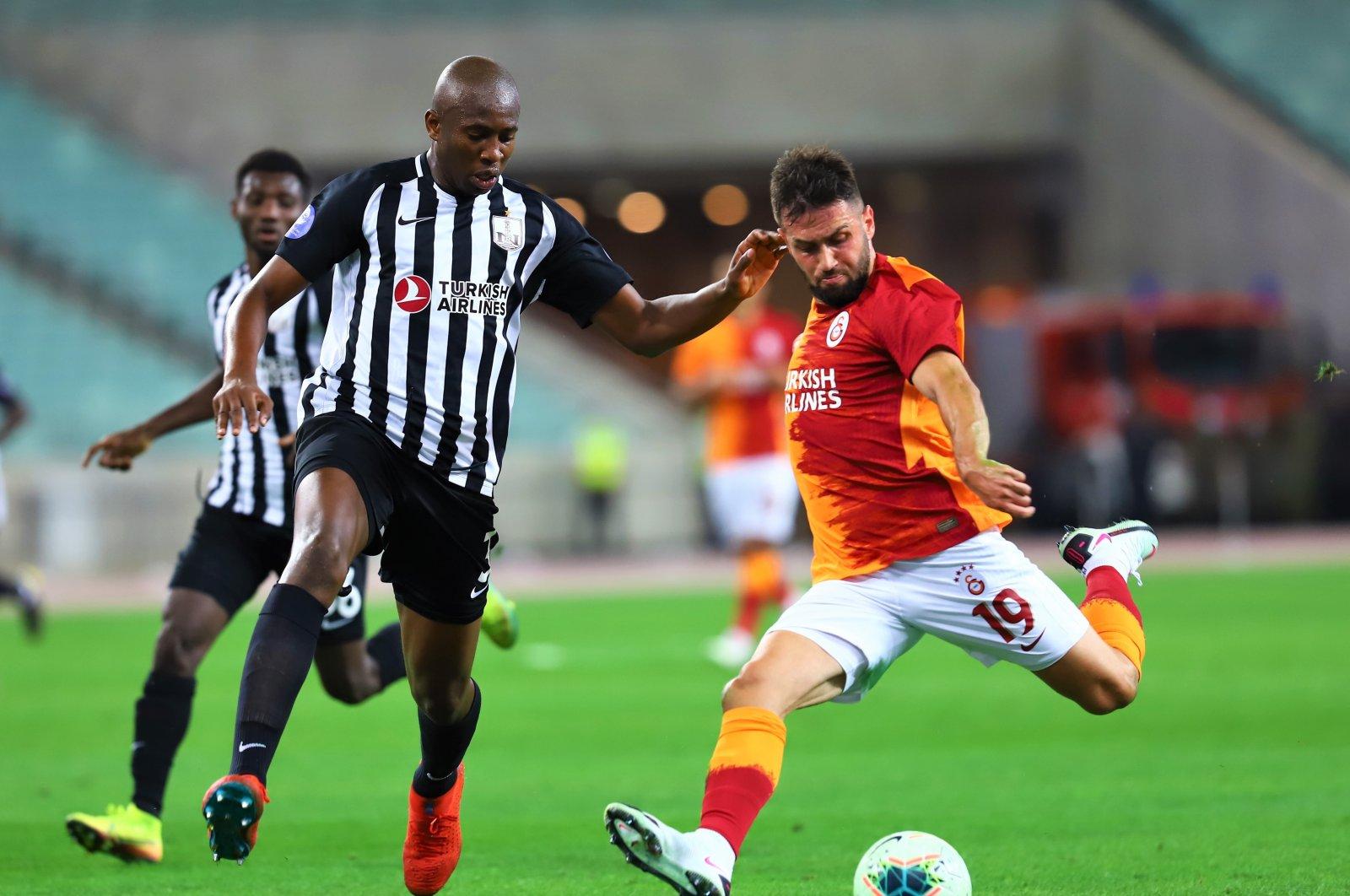 Galatasaray's Ömer Bayram takes a shot during a Europa League match against Neftçi, in Baku, Azerbaijan, Sept. 17, 2020. (AA Photo)