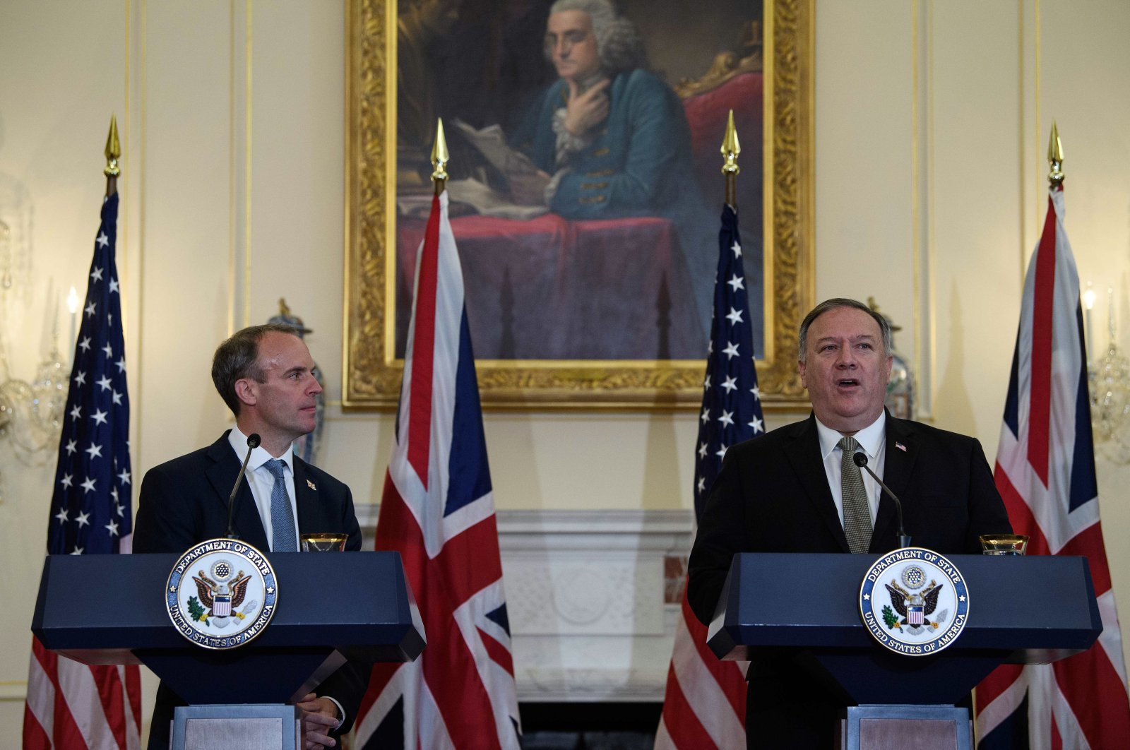 The U.S. Secretary of State Mike Pompeo speaks at a news conference with British Foreign Secretary Dominic Raab at the State Department, Washington, Sept. 16, 2020. (AP Photo)