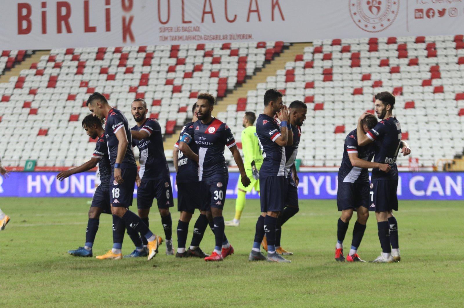 Antalyaspor players celebrate a goal during a Süper Lig match against Gençlerbirliği in Antalya, Turkey, Sept. 13, 2020. (IHA Photo)