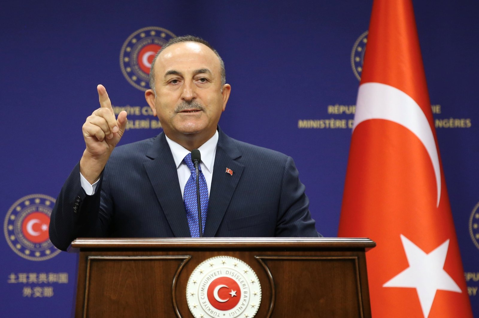 Turkish Foreign Minister Mevlüt Çavuşoğlu attends a press conference in Ankara, Turkey, Aug. 25, 2020. Turkish Foreign Ministry/Handout via REUTERS