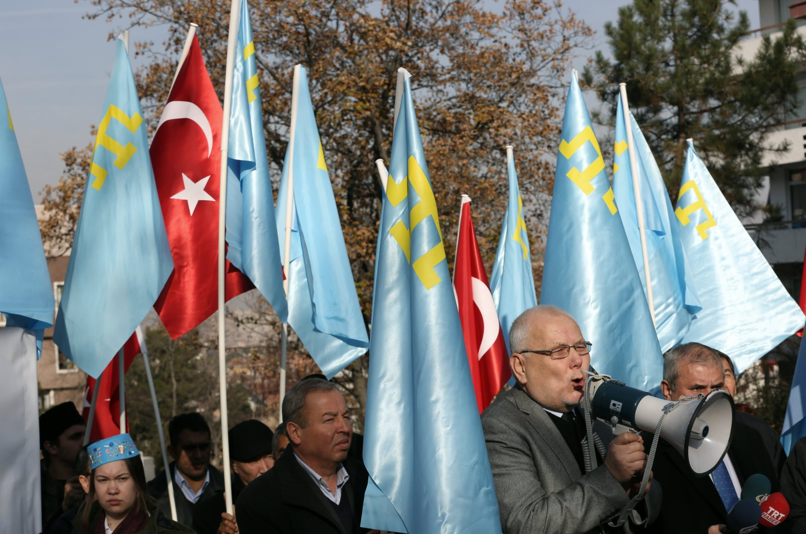 Crimean Tatars living in Turkey stage a protest outside the Russian embassy in Ankara, Turkey, Dec. 10, 2015. (AP Photo)